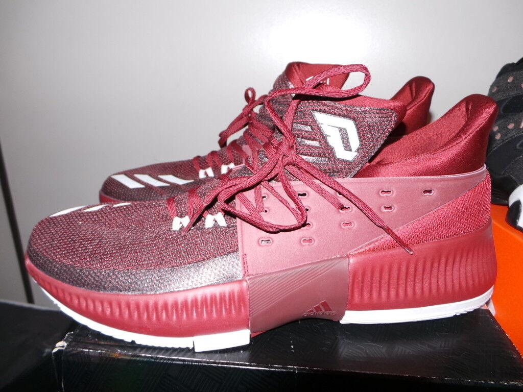Adidas Damian Lillard Dame 3 Bounce Borgoña Marrón Rojo Tamaño III 13.5 Ds Nuevo Nuevo En Caja