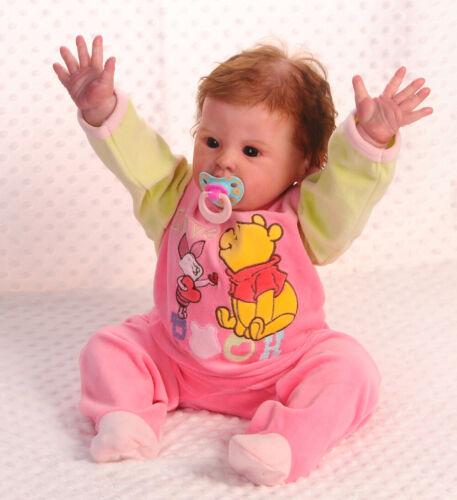 STRAMPLER Winnie Pooh 86 Schlafanzug Overall Nicki Velour Samt Rosa Disney