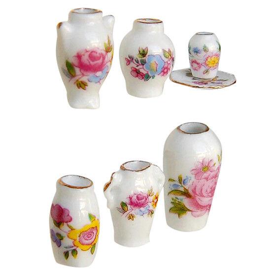 Dollhosue miniature modern ceramic china porcelain rose vase 7pcs K7I6