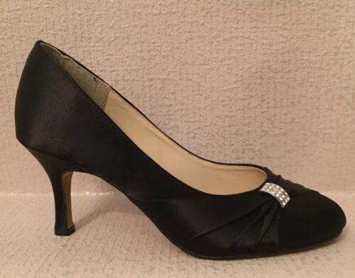 SABATINE BLACK SATIN HEELED OCCASION SHOE//WEDDING//CRUISE//PARTY  Size 4-7