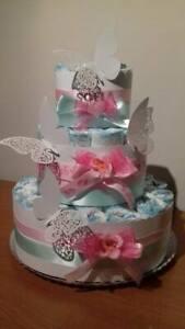 Torta di pannolini GRANDE -40pz FARFALLE  colore rosa-tiffany