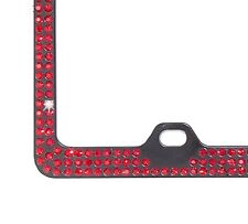 3Row Inset Dk Red Siam Rhinestone on Black License Frame with Swarovski Crystals
