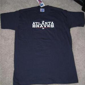 2e902ec1154 ATLANTA BRAVES T SHIRT YOUTH NAVY BLUE MLB BASEBALL MAJESTIC BOYS ...