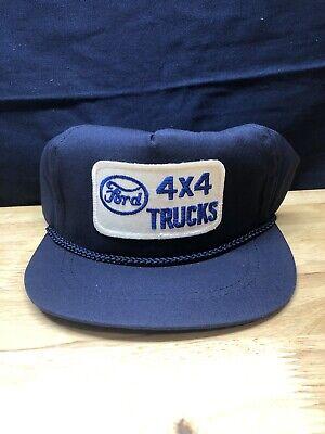 Vintage FORD 4x4 TRUCKS Blue Strapback Hat Patched Logo Black F150 70s 80s