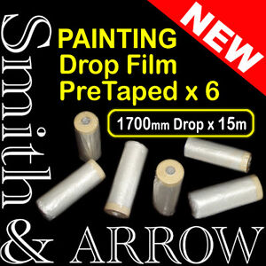 6x-ROLLS-PAINTING-MASKING-FILM-SHEET-PRE-TAPED-PLASTIC-DROP-PAINT-TAPE-STICK