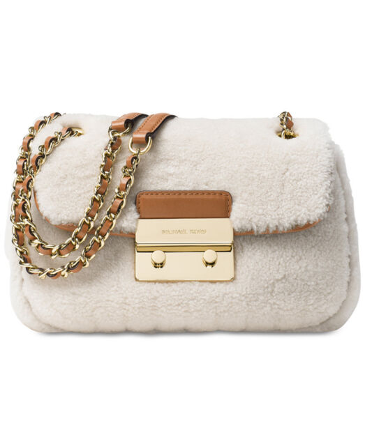 a1886835793b get michael kors sloan small chain shoulder bag shearling natural walnut  purse dac8c fdb00