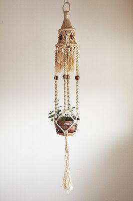 Macrame pot plant hanger / hanging basket with large wooden bead