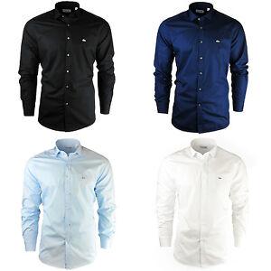 5ff74060043 Neuf pour Homme Lacoste Chemise Noir Uni Ciel Blanche Marine Slim ...
