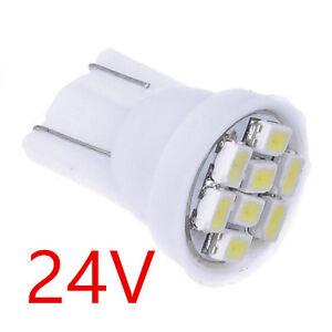 20X-DC-24V-White-T10-W5W-8SMD-LED-License-Plate-Indicator-Light-Bulb-194-168-192
