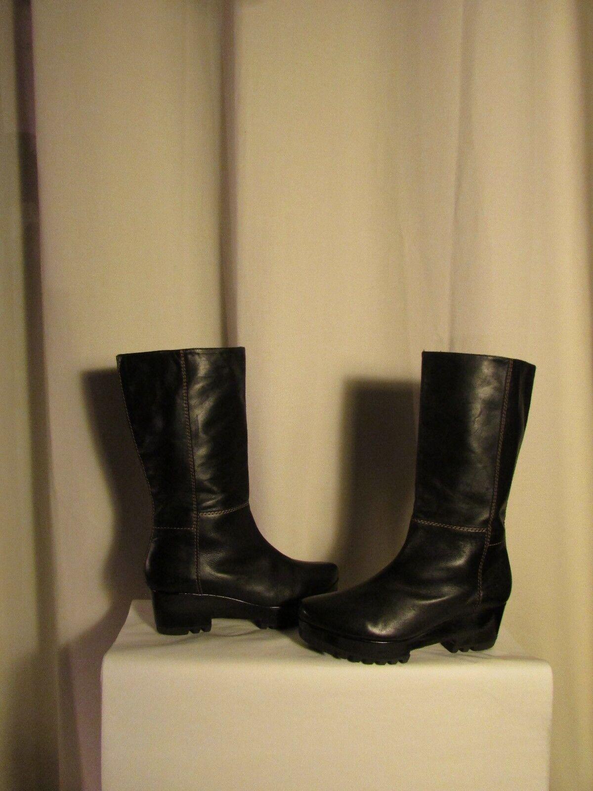 Stiefel Keil ROBERT CLERGERIE schwarzes Leder Größe 7