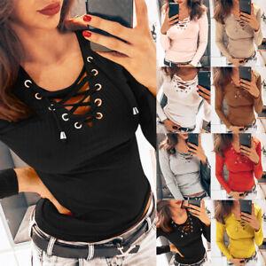 Women-039-s-Bandage-V-Neck-Long-Sleeve-T-shirt-Ladies-Casual-Slim-Fit-Blouse-Tops