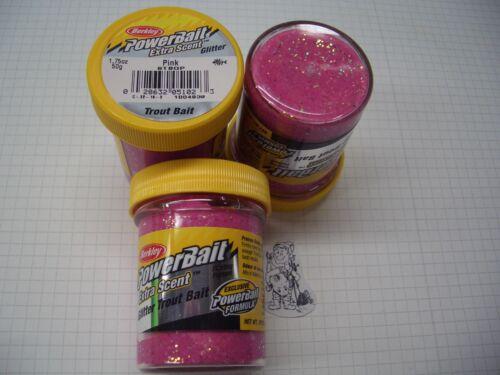 Berkley Power Bait Trout Bait Glitter Pink 3x50g-Glas 100g//6,66€ Forellenteig