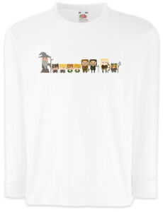 Pixel-Fellowship-Kinder-Langarm-T-Shirt-Herr-der-Fun-Frodo-Sam-Ringe-Gefaehrten