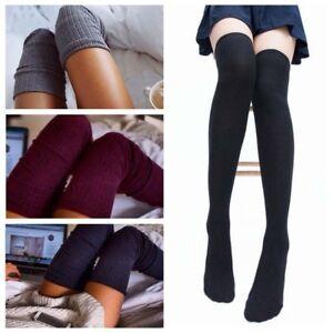 ff9f6e5c7 Women Ladies High Socks Over The Knee Long Plain Thick Thigh Stretch ...