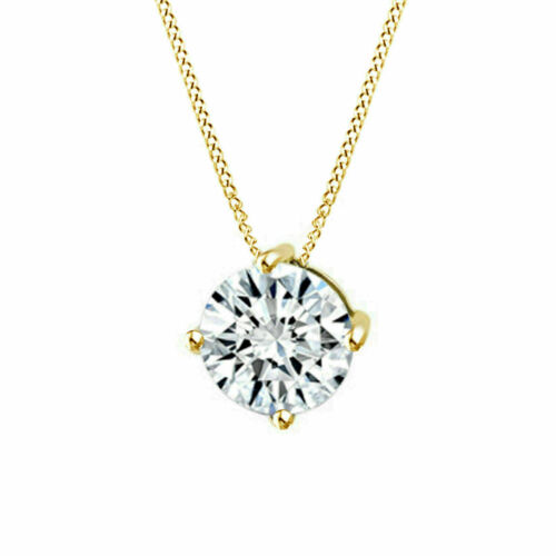 1.5ct Moissanite Brilliant Cut 14K Yellow Gold FN Solitaire Pendant Neckless