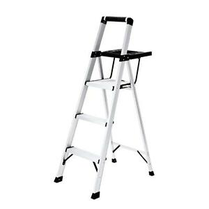 Aluminum 3 Step Folding Step Stool With Project Tray 250