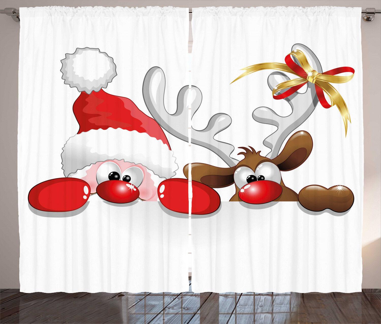 Cortinas De Navidad Diverdeidos Santa Reno Ventana Cortinas 2 pulgadas Panel Set 108x84