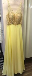 FORMAL PROM DRESS GOWN COCKTAIL WEDDING HOMECOMING YELLOW NWT LARGE BEADED