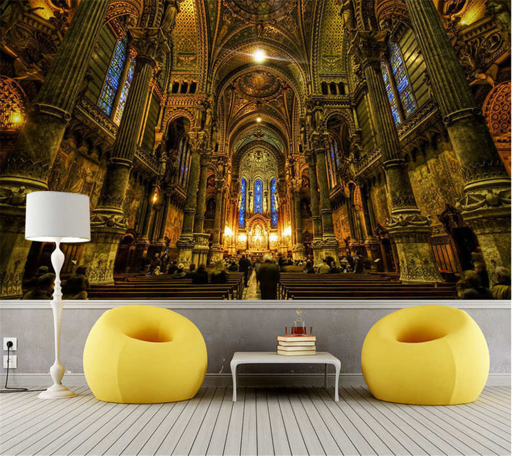 Spacious High Church Full Wall Mural Photo Wallpaper Printing 3D Decor Kid Home