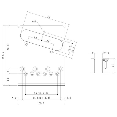 BLACK NEW Gotoh GTC202 Telecaster Style Guitar Bridge Tele Steel Saddles 10.8mm