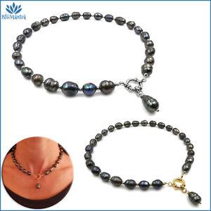 Collana girocollo da donna perle di fiume grigie naturali in acciaio inox per a