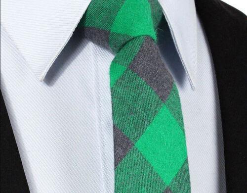 Tartan Grey Cotton Skinny Wool Style Plaid Tie Check Green Wedding HankyD29