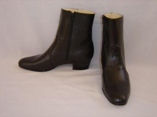NEW Size USA Jumpsuit Costume Era 9.5 Elvis BLACK 100/% Leather Zip-Up Boots