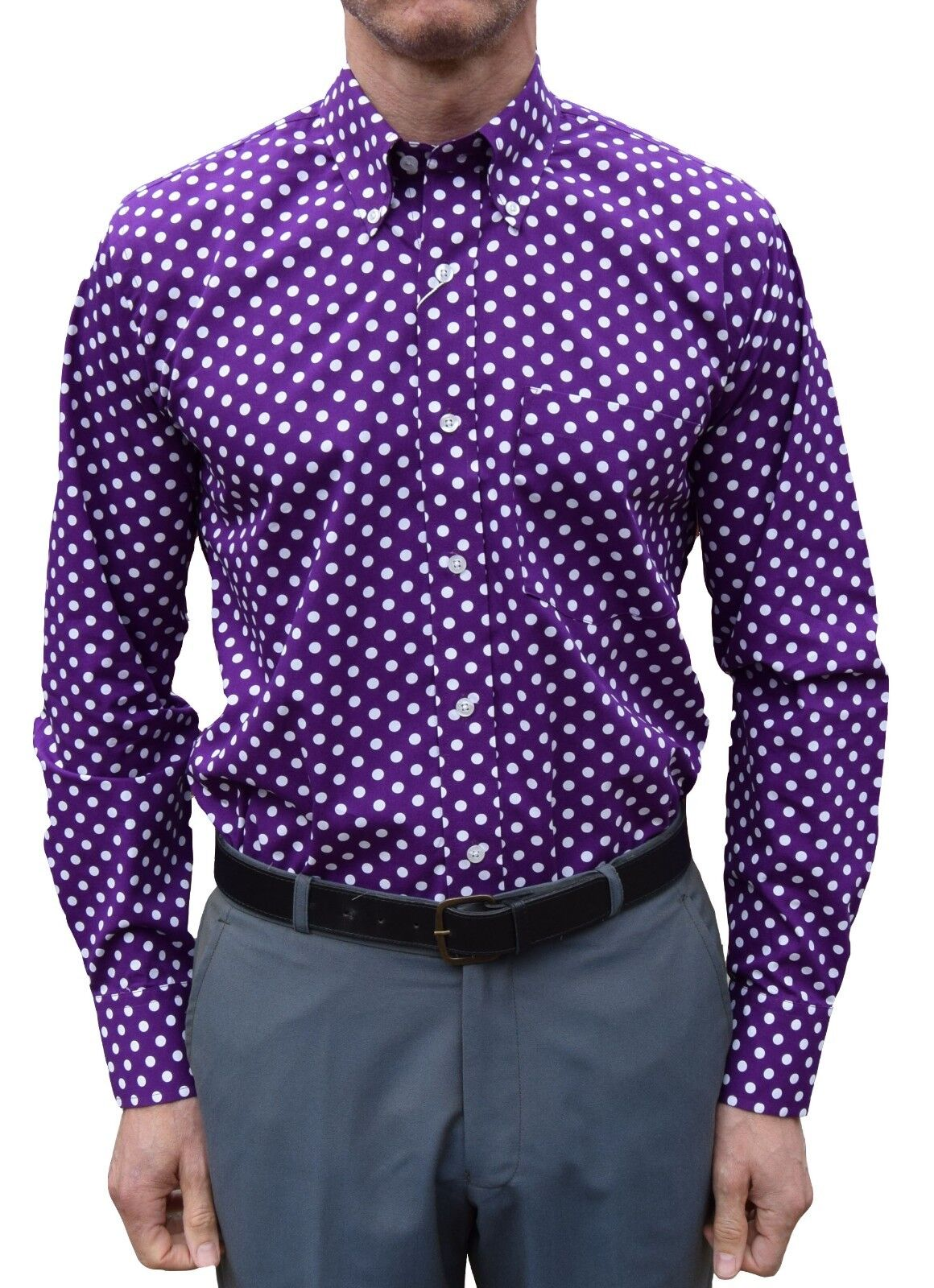 PURPLE POLKA DOT SHIRT-MOD CLOTHING RELCO NORTHERN SOUL MODS SCOOTERIST