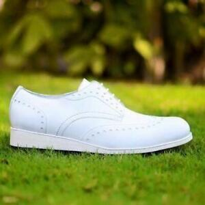 Homme-Fait-a-la-main-Chaussures-Blanc-derby-a-lacets-formel-robe-casual-wear-cuir-de-veau-Bottes