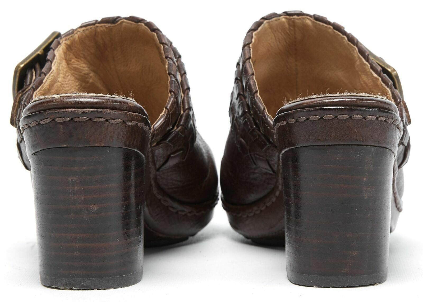 FRYE Brown Leather Candy Candy Candy Lace Clog Heels Size 8M aa1aef