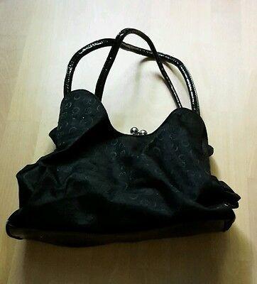 Schwarz gemusterte H&M Basic Damentasche Handtasche