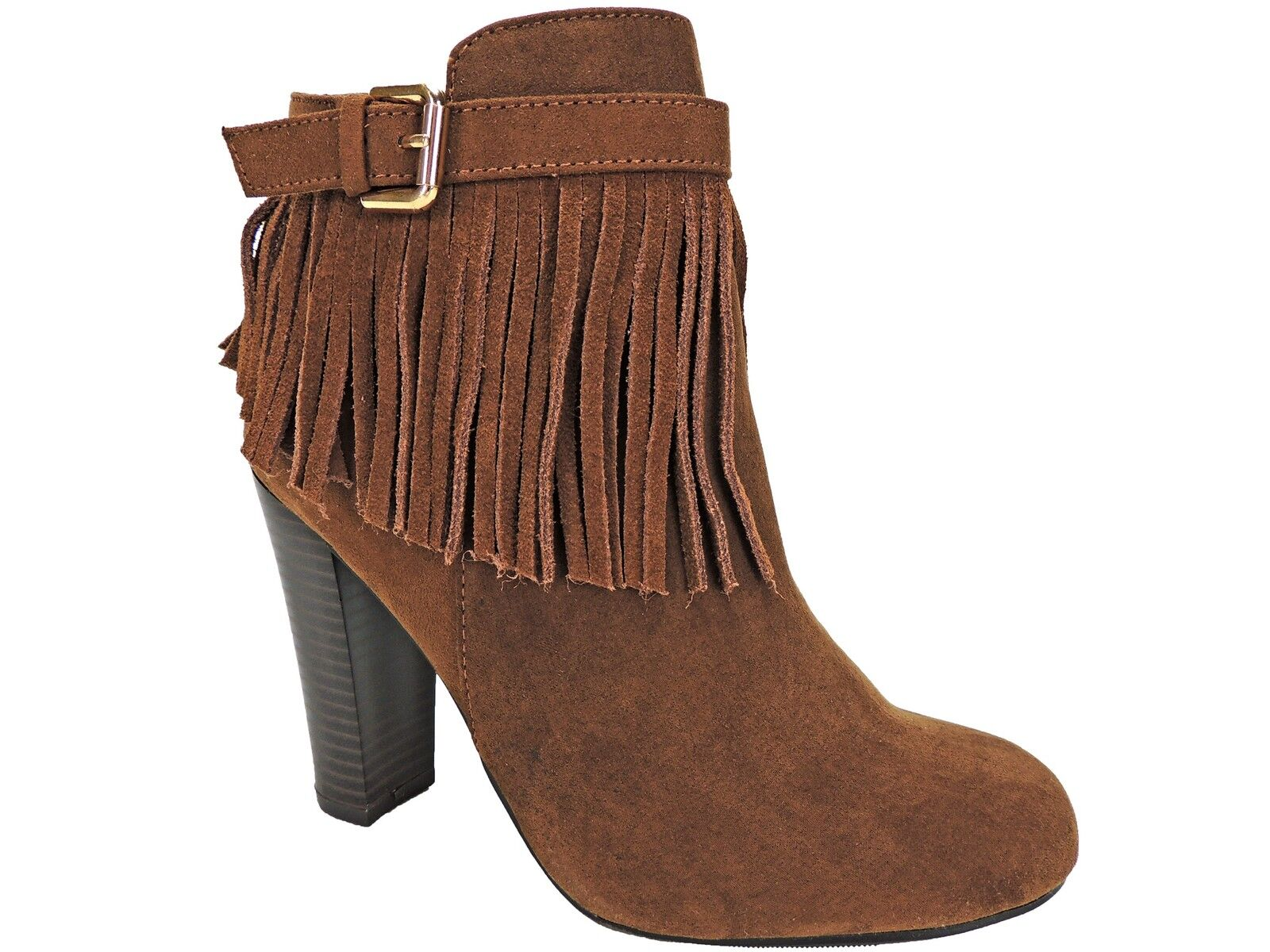 Material Girl Women's Persia Fringe Dress Boots - Booties Cognac Size 5.5 M