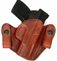 Tagua Brown Leather Dual Snap-on Open Top Iwb Holster - 1911 4 (non-rail)