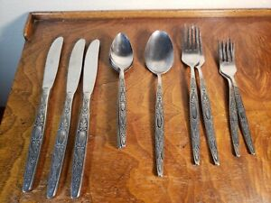 Vintage Lot of 12pcs Interpur Stainless Steel Flatware Japan Gothic Cameo MCM