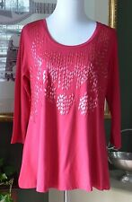 LOGO Lori Goldstein Red Jersey Stretch Knit Embellished 3/4 Sleeve Tunic Top M