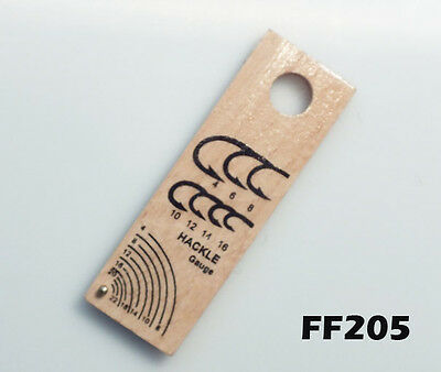 Hook /& Hackle Gauge for Fly Tying Wood FF205 Select the Correct Size Hackle