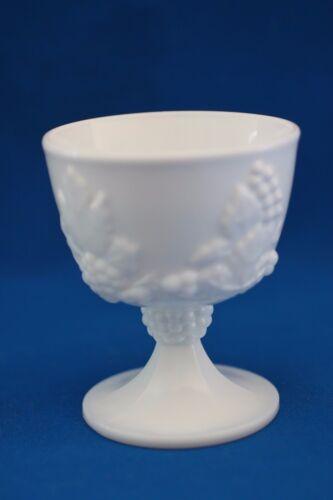 VINTAGE INDIANA GRAPE HARVEST MILK GLASS PEDESTAL CREAMER AND SUGAR BOWL SET