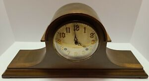 Antique Working 1920 NEW HAVEN 'Harmonious' Tambour Humpback Mantel Shelf Clock