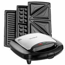 VonShef Sandwich Toaster Waffle Maker Iron Toastie Grill Panini Press 3 in 1