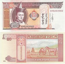 Mongolia 20 Tugrik Togrog 2011 P-62f UNC Uncirculated Banknote + FREE NOTE
