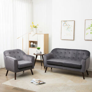 Details about Soft Velvet Accent Chairs Armchairs Living Room Reception  Sofa Padded Couch Sofa
