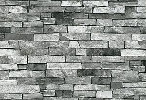 Ps International Texture Brique Pierre Ardoise Papier Peint Gris