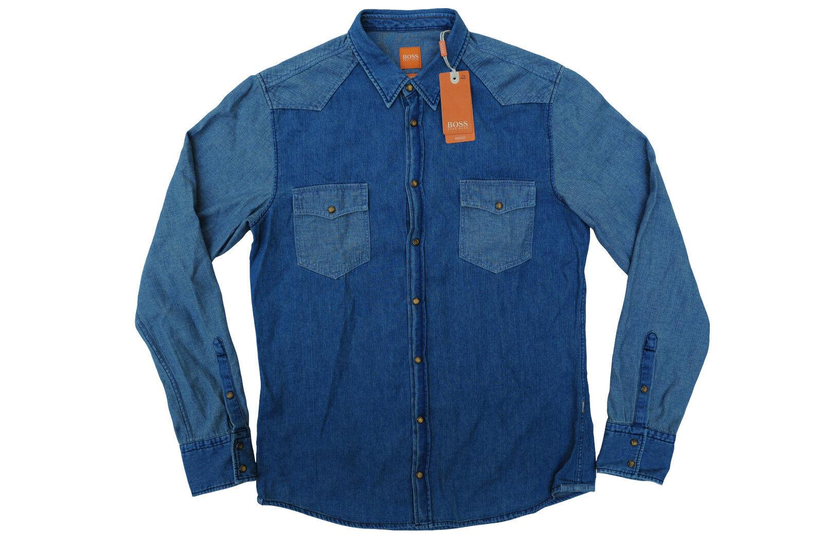 NEU gr. M HUGO BOSS orange HEMD JERODEO SLIM FIT DARK-blueE zu Jeans 50377902