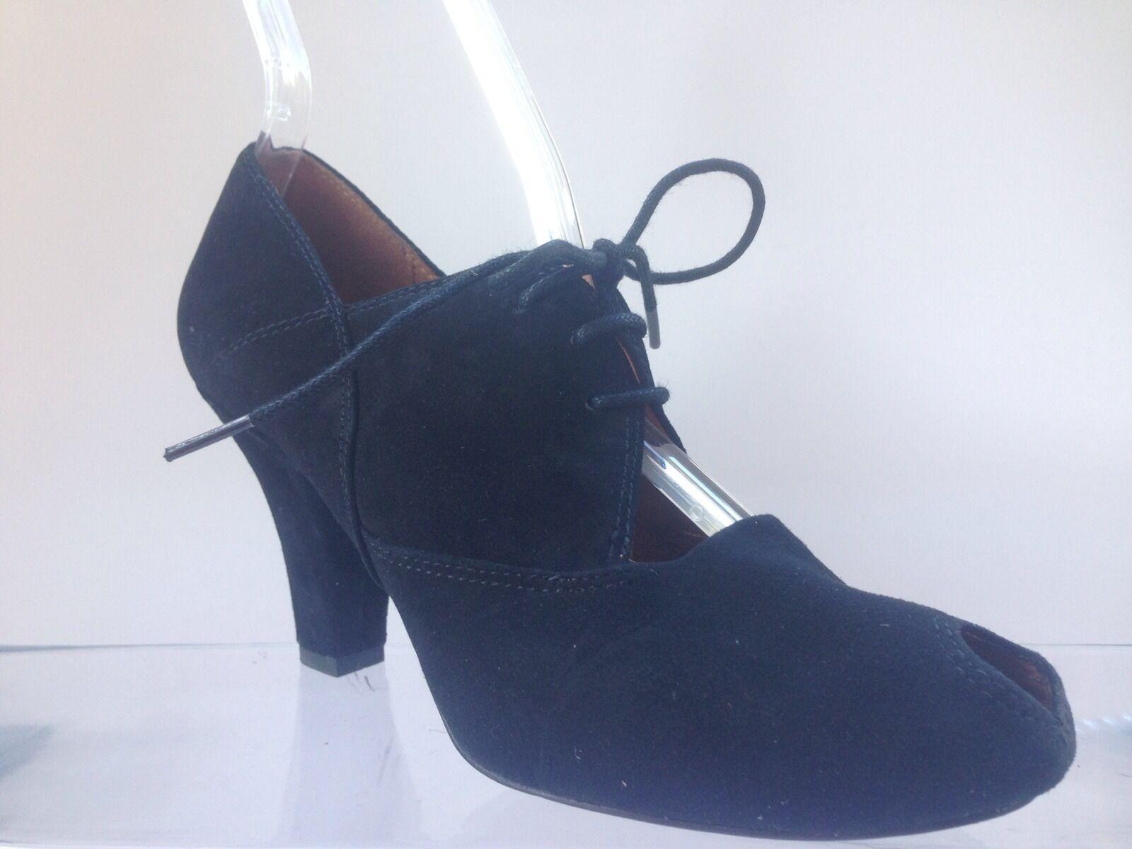 Gentle Souls Black Suede Peep Pumps  Ankle Booties Size 5 1 2. GREAT