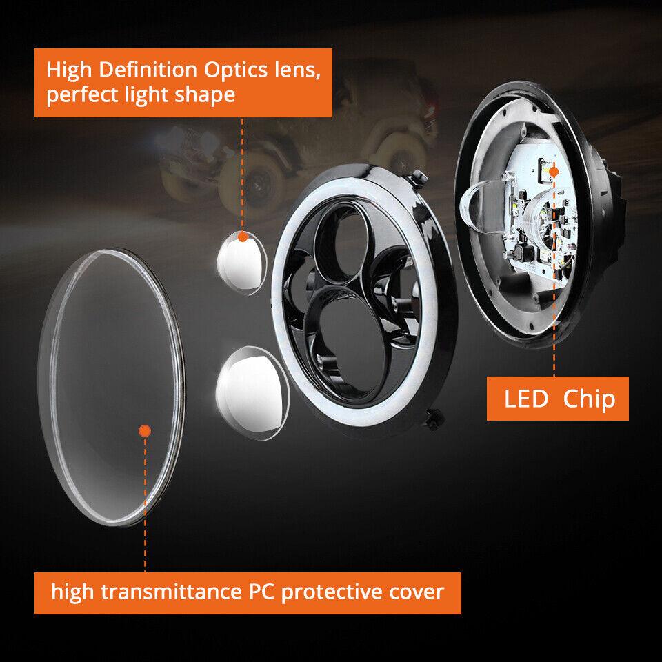 "Pair 7"" Inch Round LED Headlights Halo Angle Eyes For Jeep Wrangler JK LJ TJ CJ 6"