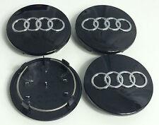 4 x 68 mm de rueda de la aleación Centro Tapacubos Audi Negro S3 S4 A3 A4 A6 A8 Tt Rs4 Q5 Q7