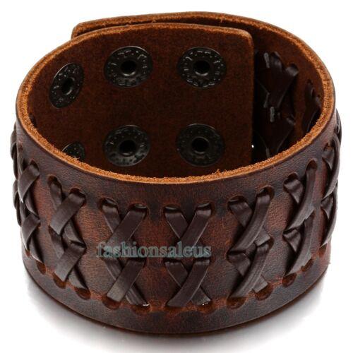 En cuir marron tressé homme Large Bracelet Bangle Bracelet Snap Bouton Réglable
