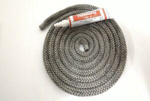 Guarnizione treccia porta stufa, camino, fibra di vetro, c/ adesivo refrattario.