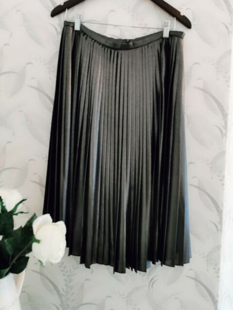 Ted Baker midi skirt (Zainea) metallic charcoal grey TB Size 4 (14)