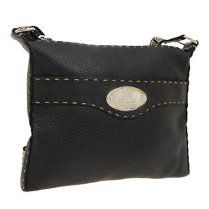 Auth-FENDI-Selleria-Cross-Body-Shoulder-Bag-Black-Leather-Vintage-Italy-AK33424